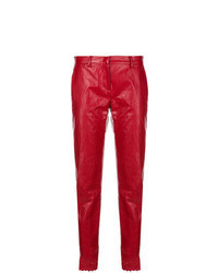 Red Leather Tapered Pants