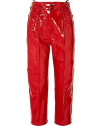 Petar Petrov Cropped Patent Leather Straight Leg Pants