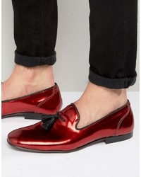 Asos Loafers In Red Metallic