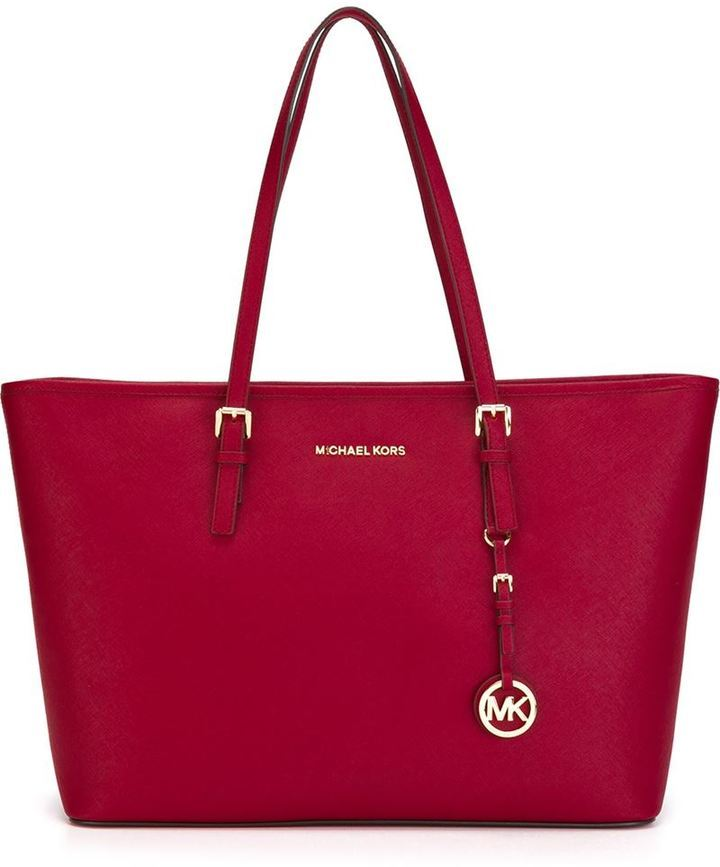 2e316a00353d ... Red Leather Tote Bags MICHAEL Michael Kors Michl Michl Kors Jet Set  Travel Tote