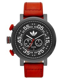 adidas Originals Indianapolis Chronograph Leather Strap Watch 50mm