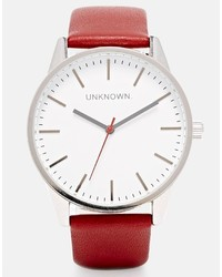 Unknown burgundy leather strap watch with white dial medium 276803