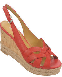 Red Leather Wedge Sandals