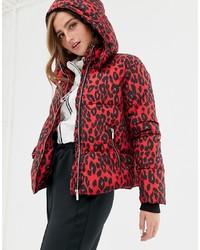 New Look Puffer Jacket In Leopard Print Pattern