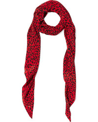 Leopard print silk crepe de chine scarf red medium 732063