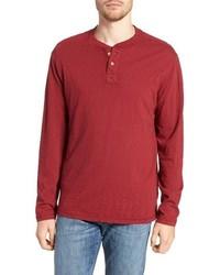 Red Long Sleeve Henley Shirt