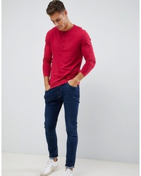 ASOS DESIGN Long Sleeve T Shirt With Grandad Neck In Red