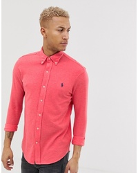 Polo Ralph Lauren Player Logo Pique Shirt Slim Fit In Red Marl