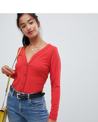 Miss Selfridge Petite Button Detail Top In Red