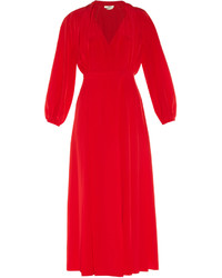 Fendi Pleat Front Crepe De Chine Midi Dress
