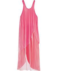 Stella McCartney Primrose Pliss Georgette Midi Dress Fuchsia