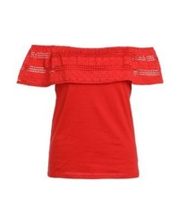 Ruffle bardot print t shirt red medium 3886344
