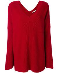 Ribbed oversized v neck sweater medium 4979370