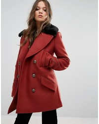 Free People Sedgwick Faux Fur Collar Pea Coat