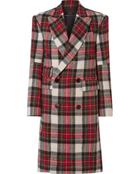R13 Kendall Double Breasted Tartan Wool Coat