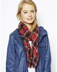 Asos Lightweight Plaid Check Scarf Red