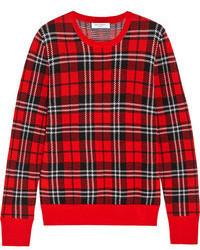 Shane plaid intarsia wool sweater medium 71541