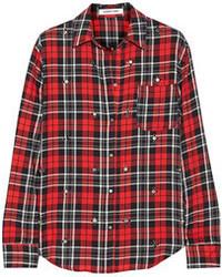 Elizabeth and James Carine Embellished Plaid Cotton Blend Shirt