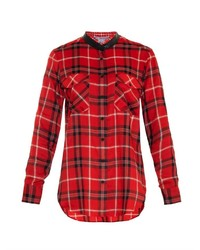 Leather trim plaid shirt medium 184630