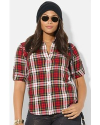 Lauren Ralph Lauren Plaid Work Shirt Multi Red 2x