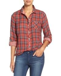 Sandra Plaid Roll Sleeve Cotton Shirt