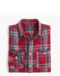 Red Plaid Flannel Long Sleeve Shirt