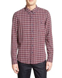 Hill trim fit long sleeve plaid sport shirt medium 404984