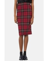 Red Plaid Midi Skirt