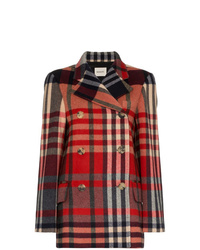 Khaite Tartan Cashmere And Wool Double Breasted Coat