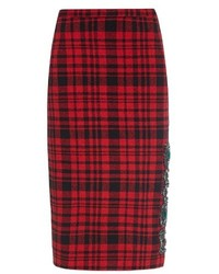 No.21 Crystal Embellished Plaid Skirt