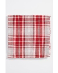 Simon Cotton Pocket Square Red White One Size