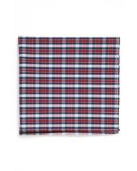 Original Penguin Jay Plaid Cotton Pocket Square Red Blue One Size
