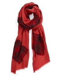 Nordstrom Plaid Patch Scarf Red One Size One Size