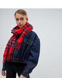 My Accessories Red Tartan Woven Scarf