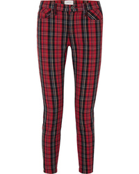 Red Plaid Skinny Jeans