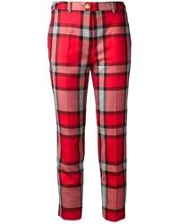 Red Plaid Skinny Pants