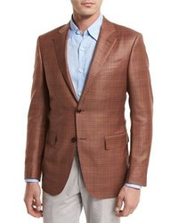 Red Plaid Wool Blazer