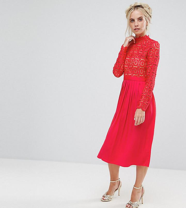 e1a0e97328e ... Red Pleated Midi Dresses Little Mistress Petite Premium Lace Pleated Midi  Dress ...