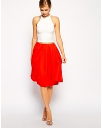 Red Pleated Midi Skirt