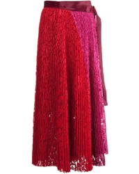 Sacai Pleated Lace Midi Skirt