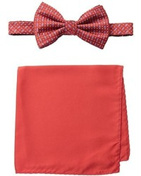 Steve Harvey Neat Woven Bowtie And Solid Pocket Square