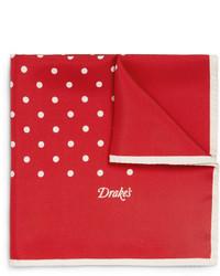 Drakes Polka Dot Silk Pocket Square