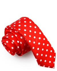 DQT Polka Dot Red Skinny Tie