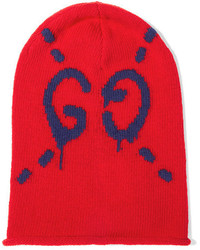 Gucci Intarsia Wool Beanie Red