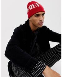HUF Serif Large Logo Beanie In Red