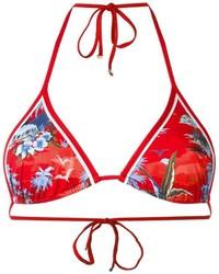 Red Print Bikini Top