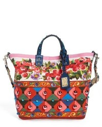Dolce & Gabbana Dolcegabbana Carretto Print Canvas Shoulder Bag Red