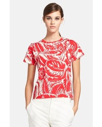 Marc Jacobs Floral Print Cotton Tee Red X Small