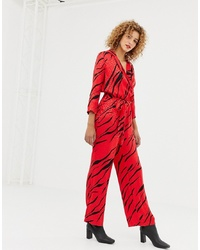 Only Zebra Print Wrap Jumpsuit