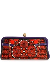 Red Print Leather Clutch